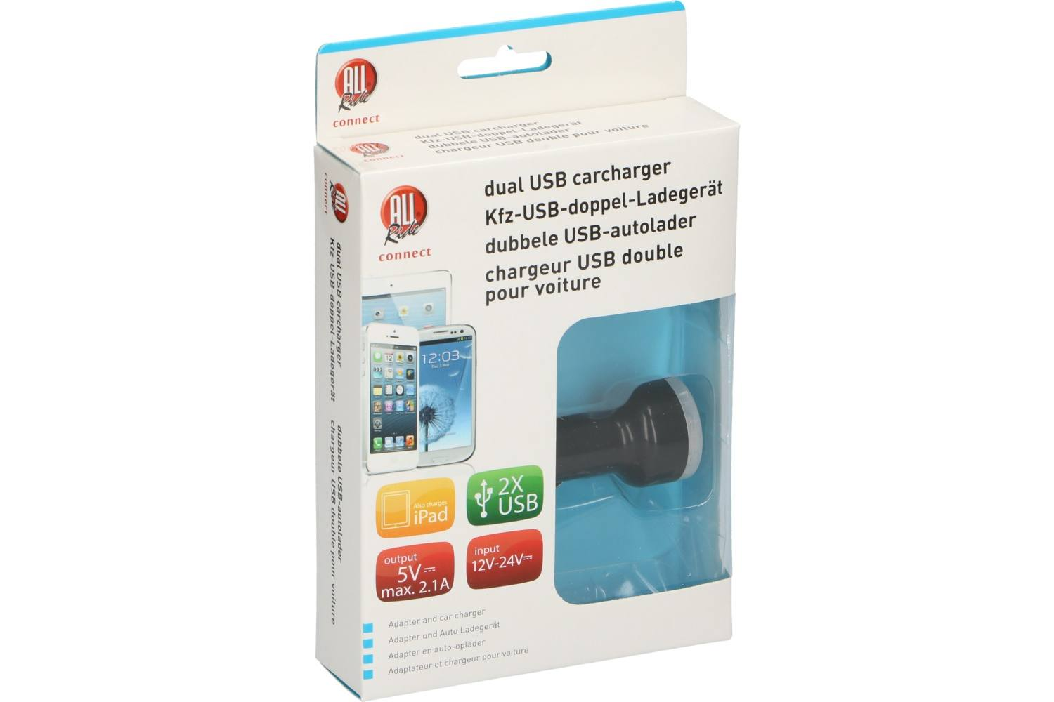 Aanstekerplug oplader, AllRide Connect, 2 x USB, 12-24V, 2,1A 1